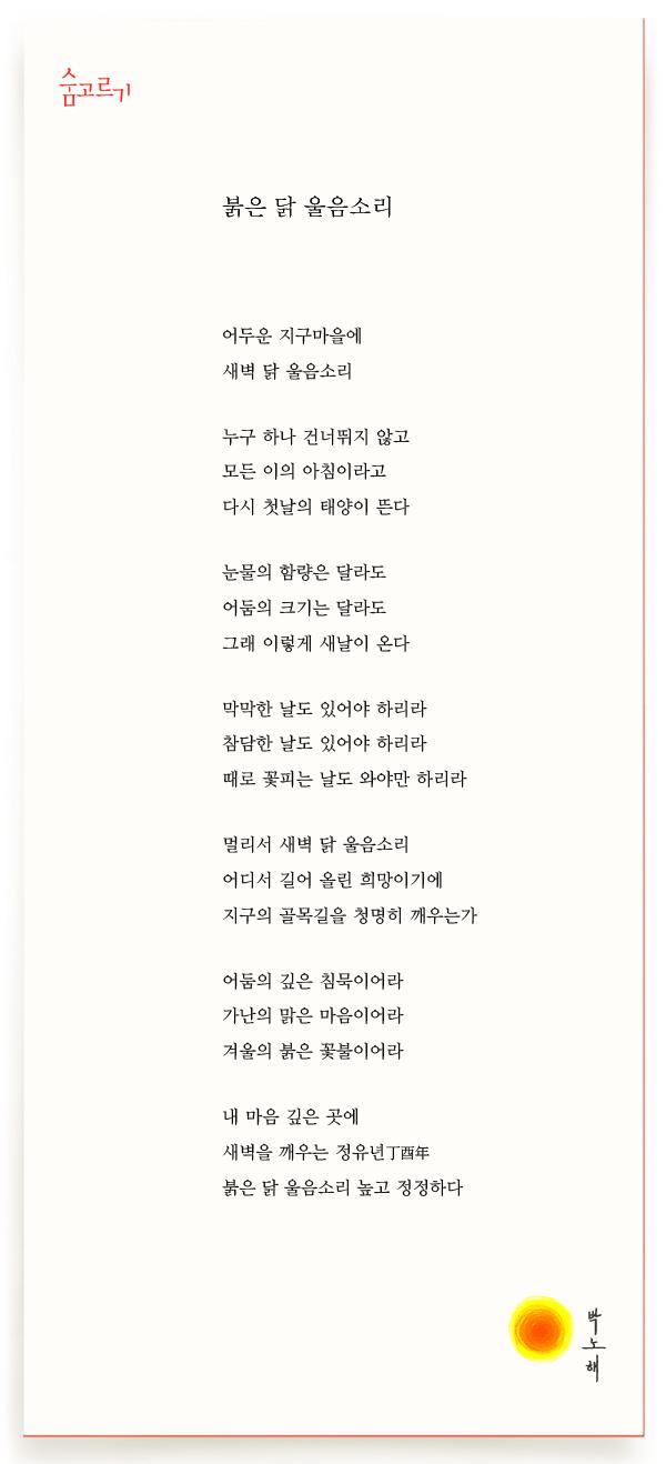 박노해의 숨고르기 붉은 닭 울음소리