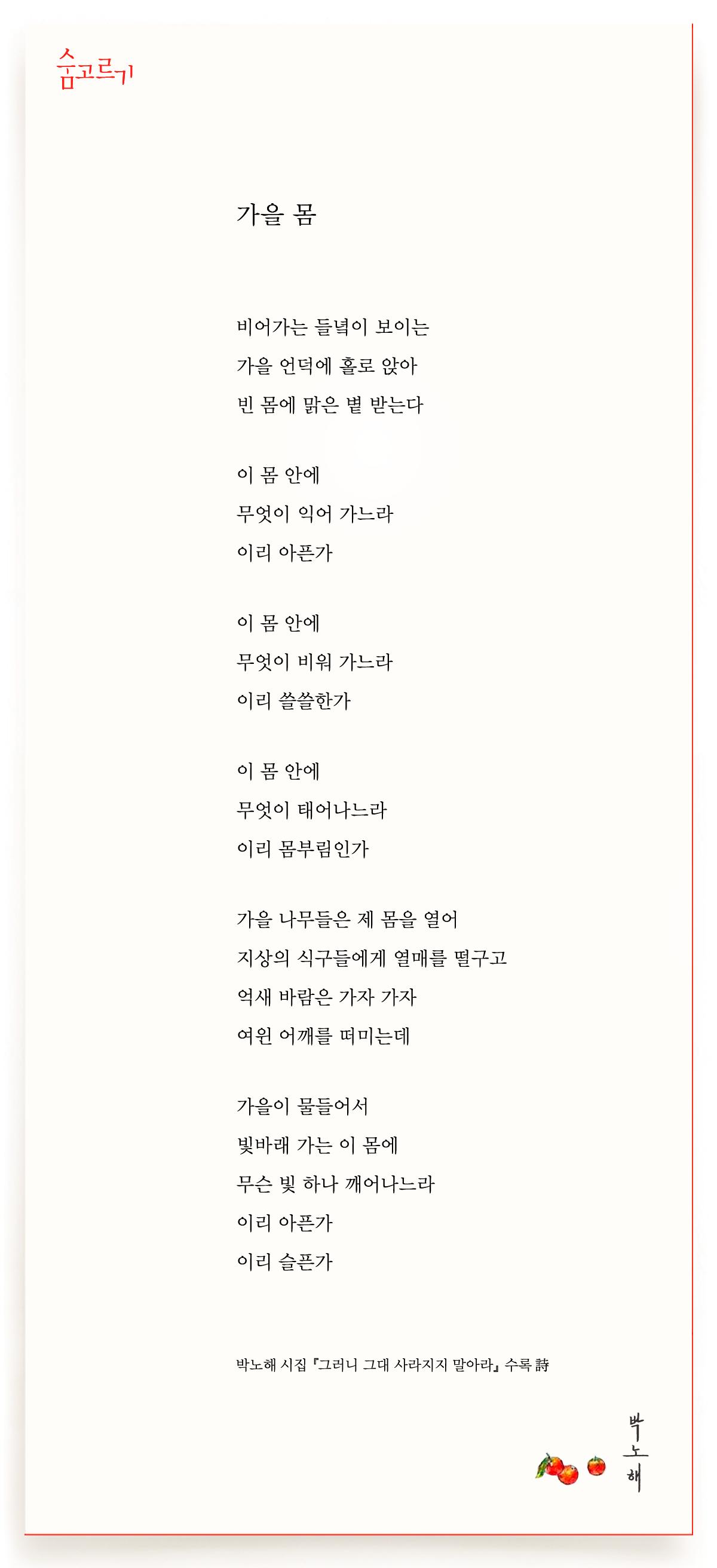 박노해의 숨고르기 가을 몸