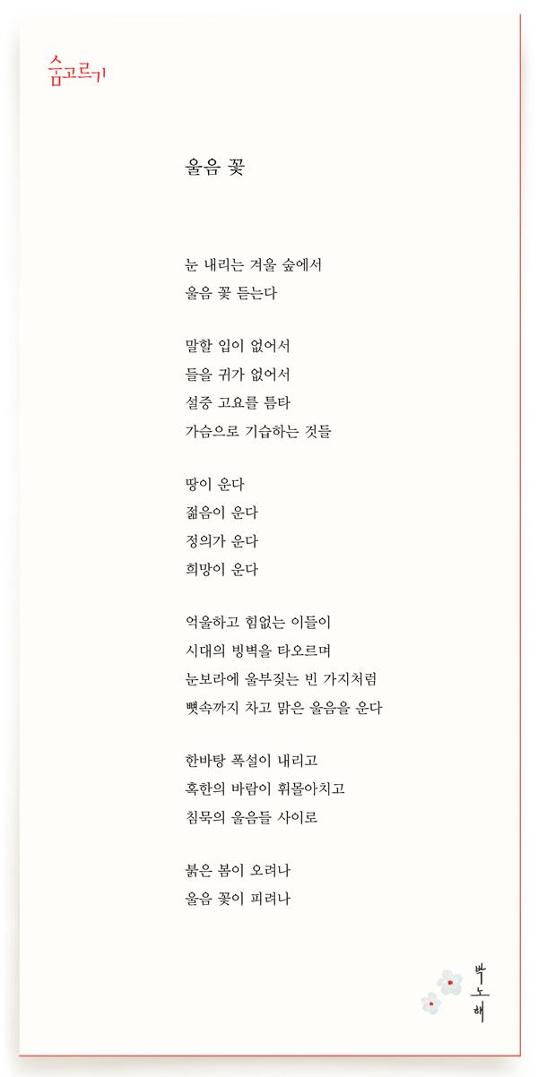 박노해의 숨고르기 울음 꽃